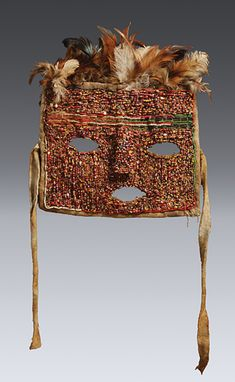 Africa | Mask from the Ha or Tabwa people of Tanzania | Glass beads, textile and feathers
