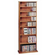 Deluxe Multimedia Storage Rack Veneer: Cherry by Leslie Dame Enterprises. $159.95. CDV-500CHY Veneer: Cherry Features: -Shelves are adjustable. Options: -Available in an Oak Veneer (shown) or Cherry Wood Veneer. Construction: -Heavy duty construction. Color/Finish: -Please note: Due to color variance in the product finish, actual cabinet finish may differ from image. Specifications: -Capacity: Holds 500 CDs, 204 DVDs, 300 Audiocassettes or 120 VHS Videocassettes. Assembly In...
