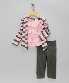Take a look at this Pink Stripe Layered Top & Gray Jeggings - Toddler by Young Hearts on #zulily today!