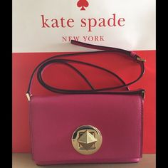 Kade Spade Sally leather Shoulder bag Kade Spade Newbury Lane Pink leather shoulder bag, approx Measurements 7 1/2 X 5 1/4 X 1 1/2 % Authentic NWT and care card kate spade Bags Shoulder Bags