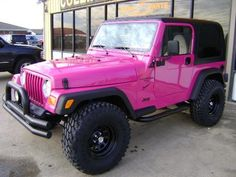 Pink Cars: Pink Jeep Wrangler - Awesome Girly Cars & Girly Stuff! Pink Jeep= fabulous!