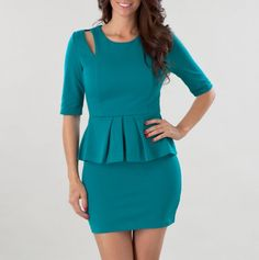 Peplum Dress with Cut-Out Shoulder. I want it in white...
