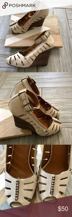 Frye Gwen Ankle wedge open toe heel Sz 6M Pretty good condition. There is some wear near front of shoes . Box not included Frye Shoes Wedges