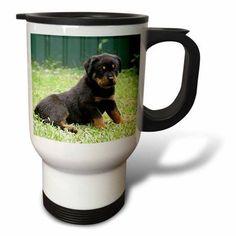 3dRose Rottweiler puppy, Travel Mug, 14oz, Stainless Steel