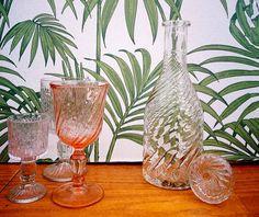 French glass decanter, Spiral decanter, Rosaline pattern Wine decanter, Whisky decanter, Spirits decanter, Man cave decor, Vintage barware
