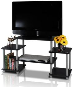 Furinno 11257BK/GY Turn-N-Tube No Tools Entertainment TV Stands Black/Grey