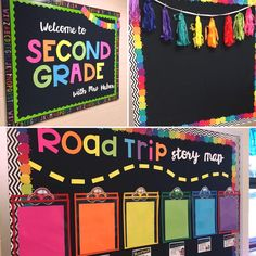 """First grade welcome bulletins, do the road and put cars """"race to first grade"""" if you're not first you're last Neon Classroom Decor, Elementary Classroom Themes, Chalkboard Classroom, Kindergarten Classroom Decor, Classroom Board, School Bulletin Boards, New Classroom, Classroom Design, Elementary Schools"""