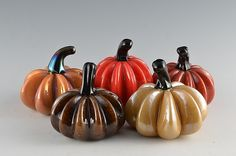 Harvest Super Mini Pumpkins by Donald Carlson: Art Glass Sculpture available at www.artfulhome.com