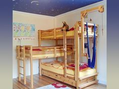 Triple bunk beds are well known in squeezing small bedroom to fully occupied room. Now you will find many bunk bed variations with three level starts from Bunk Beds Small Room, Triple Bunk Beds, Bunk Bed Plans, Modern Bunk Beds, Bunk Beds With Stairs, Cool Bunk Beds, Kids Bunk Beds, Triple Bed, Modern Bedroom