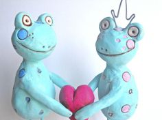 Standing Love Frogs clay folk art sculpture by indigotwin on Etsy, $35.00