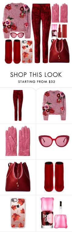 """""""Red velvet pants"""" by razone ❤ liked on Polyvore featuring Haider Ackermann, Dolce&Gabbana, GANT, Marni, Yves Saint Laurent, Casetify, Benefit, NARS Cosmetics, polyvoreeditorial and polyvorecontest"""