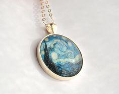 #jewelry #locket #vangogh #starrynight #blue #turquoise #veracreations #etsy