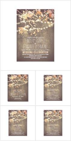 Rustic string lights tree country wedding invitation wedding - Wedding Invitations Sets On Pinterest Beautiful Wedding
