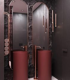 red Bathroom Decor 3 Homes That Go Bold with Dramatic Red Color Palettes Red Bathroom Accessories, Red Bathroom Decor, Brown Bathroom, Washroom Design, Toilet Design, Bathroom Interior Design, Red Colour Palette, Color Palettes, Red Color