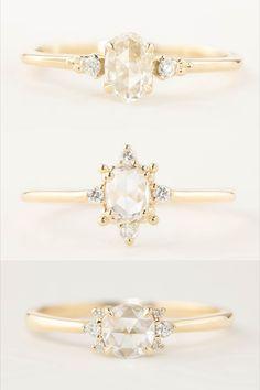 Handmade engagement ring made with beautiful rose cut diamond.