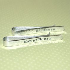 Man of Honor / Bridesman Gift - Personalized Custom Hand Stamped Tie Bar by Korena Loves