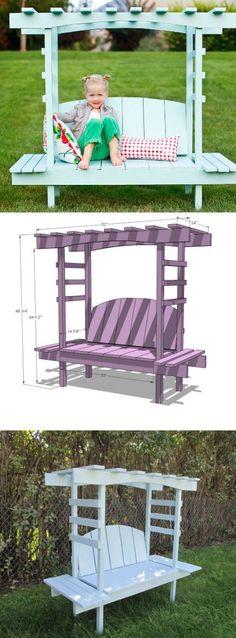 How to Make Kids Arbor Bench - DIY & Crafts                                                                                                                                                                                 More