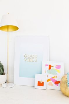 DIY gold foil wall art (the background is a free printable!) from Sugar & Cloth.