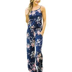 1f0168ed8e7 Spaghetti Strap Women Summer Long Pants Floral Print Rompers Beach Casual  Jumpsuits Sleeveless Sashes Playsuits