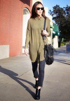 Long, button-down shirt + cropped black jeans
