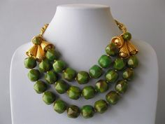 Vtg 1950's Signed Scaasi Green Spinach Bakelite Bead Bib Necklace Earrings Set | eBay Sold for $ 334