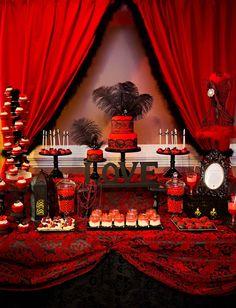 'HOT' Red and Black Bridal Shower Dessert Table » mondeliceblog.com