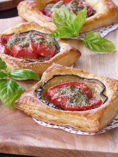 Eggplant, Tomato and Pesto Puff Pastry Tarts