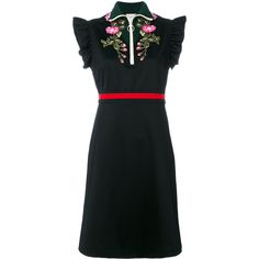 Gucci Embroidered Jersey Dress (€1.305) ❤ liked on Polyvore featuring dresses, black, embroidered dress, special occasion dresses, short dresses, floral cocktail dresses and short cocktail dresses