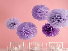 Pack a Perfect, Purple Punch at your baby shower with these beautiful Martha stewart pom poms...