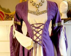 Medieval dress robe for LARP fantasy in your size  cotton or