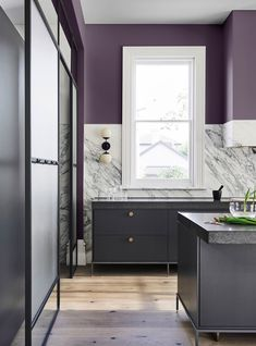Sage & Other Big Colours for 2019 purple kitchen wall with grey cabinetry dulux 2019 home colour trendspurple kitchen wall with grey cabinetry dulux 2019 home colour trends Purple Kitchen Walls, Paint For Kitchen Walls, Kitchen Paint Colors, Purple Walls, Grey Purple Paint, Grey Wall Color, Purple Interior, Purple Home, Kitchen Trends