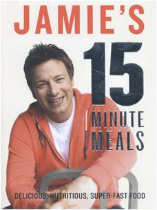 Jamie's 15 Minute Meals! My review: Having some 600 cookery books on my shelves I had promised myself I had reached 'an elegant sufficiency'. But Jamie's 15 minute meals arrived on Australia's TV and I was taken by the first episode. I had almost all of his books and most often used his 30 minute meals. This is Jamie at his mature best writing for the everyday, for Mum and Dad in a hurry but wanting an interesting, healthy meal.