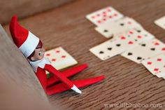 Playing Solitaire - Elf on a Shelf - courtesy of; lilblueboo.com - #Christmas #Elf on a Shelf
