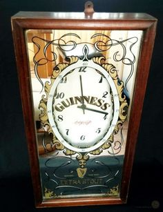 Vintage 1976 Aspell Saggers Mirrored Guinness Clock Condition: Fair to Good. I think this clock has been in a pub at some point in it's life and so has all the expected characteristic knocks and scraps. The clock is powered by a AA battery (Not included for postal reasons) and keeps time pretty...