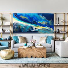 Sky Abstract Painting on Canvas,Large Abstract Art Oil Painting,Large Abstract Painting,Large Wall Canvas Painting,Original Abstract Art Design Living Room, Living Room Decor, Decorating A Large Wall In Living Room, Living Room Artwork, Living Area, Small Living, Modern Living, Modern Home Design, Large Wall Canvas