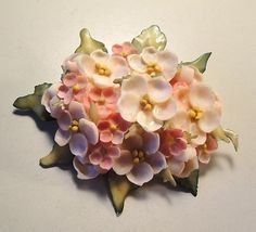 Vintage 50's Large Florida Seashell Shell Bead Flower Pin