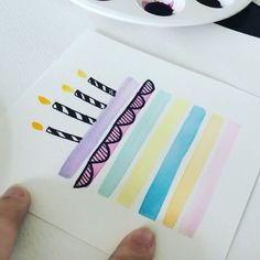A simple and hassle free birthday card! Step 1 - Tape sides with masking tape. Step 2 - Use flat brush, paint horizontal lines. Any colours. Step 3 - Tear off masking tape before letting it dry. I used a sharpie to draw the details like ribbon and candles. .