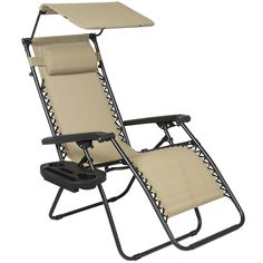 Best Choice Products Folding Zero Gravity Recliner Lounge Chair w/ Canopy Shade & Magazine Cup Holder (Tan), Beige Folding Lounge Chair, Patio Lounge Chairs, Patio Seating, Garden Chairs, Beach Chairs, Dining Chairs, Folding Canopy, Lawn Chairs, Swivel Chair