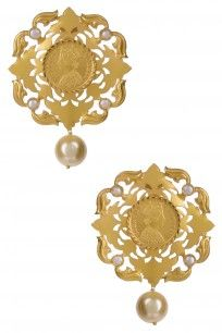 Gold Plated Guinea Coin Pearl Embellished Rococo Motif Earrings #GOLDPLATED #traditional #Guinea #coin #pearl #Ahilyajewels #perniaspopupshop #happyshop #shopnow