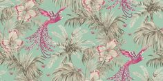 Bird of Paradise Fuchsia / Jade (W6655-07) - Matthew Williamson Wallpapers - A fabulous bird of paradise, with exotic feathers flying through flowers and leaves. Shown in the vivid fuchsia grey on jade green. Please request sample for true colour match.