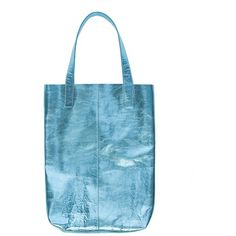 Blue Metallic Leather Tote (189 AUD) ❤ liked on Polyvore featuring bags, handbags, tote bags, leather tote, leather pouch, metallic leather handbags, leather purse and blue tote