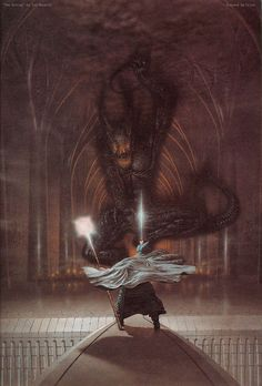 Ted Nasmith: Gandalf and the Balrog.my absolute favorite painting illustrating a scene from LOTR Legolas, Aragorn, Lord Of Rings, Fellowship Of The Ring, Alan Lee, Jrr Tolkien, High Fantasy, Fantasy World, Middle Earth