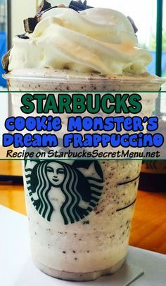 Treat yourself to a deliciously chocolaty Cookie Monster's Dream Frappuccino at your local Starbucks. Tastes as good as it looks!