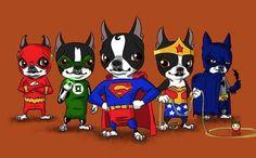Boston Terrier superheroes by artist  http://brianrubenacker.com/