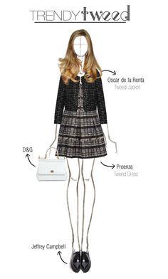 """Trendy Tweed"" by latelatte ❤ liked on Polyvore featuring Proenza Schouler, Oscar de la Renta, Jeffrey Campbell, Dolce&Gabbana, women's clothing, women, female, woman, misses and juniors"