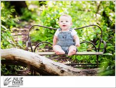 Child Photography Sioux Falls SD - Adorable little boy on a bench in the park! Nature in the summer for a fabulous portrait session. Overalls are a must!