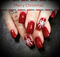 Christmas gift bow nails gel nails