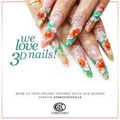 We absolutely love 3D acrylic nails! Show us your creations on Instagram & Facebook by using the hashtag #christrionails!  #christrio #nails #nailart #naildesign #nailswag #3Dacrylicnails #acrylicnails #3Dacrylics #rhinestones #flowernails #flowers #creative #holidaynails #beautiful