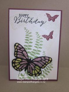 Rich Razzleberry Vellum butterfly card coloured with Blendabilities http://www.stampwithangela.co.nz/vellem-butterfly-card-and-video/