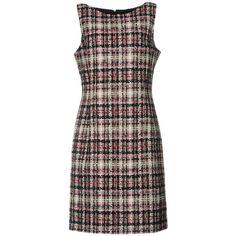 Oscar De La Renta Short Dress ($476) ❤ liked on Polyvore featuring dresses, garnet, zipper dress, sleeveless short dress, tweed dress, oscar de la renta dresses and zipper mini dress